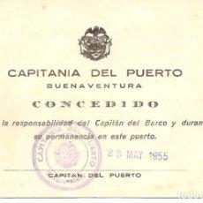 Líneas de navegación: PERMISO DE DESEMBARCO, CAPITANÍA DEL PUERTO DE BUENAVENTURA-COLOMBIA, 1955, MERCANTE GRANCOLOMBIANA. Lote 151368286