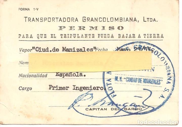 Líneas de navegación: PERMISO DE DESEMBARCO, CAPITANÍA DEL PUERTO DE BUENAVENTURA-COLOMBIA, 1955, MERCANTE GRANCOLOMBIANA - Foto 2 - 151368286