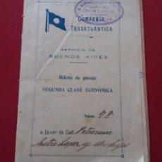 Líneas de navegación: COMPAÑÍA TRASATLÁNTICA. SERVICIO BUENOS AIRES. BILLETE DE PASAJE 2ª CLASE, DESDE BARCELONA. 1920. Lote 151561185