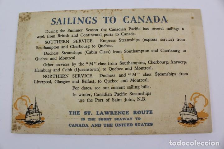 Líneas de navegación: PR- 278. FOLLETO CANADIAN PACIFIC. THE ST.LAURENCE ROUTE. - Foto 6 - 151711662