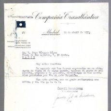 Líneas de navegación: COMPAÑIA TRASATLANTICA. CARTA COMERCIAL. MADRID. 1953. Lote 151712886
