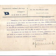 Líneas de navegación: COMPAÑIA TRASATLANTICA. BARCELONA. 1936. NOMBRAMIENTO COMO PRIMER SOBRECARGO VAPOR HABANA. Lote 151713974