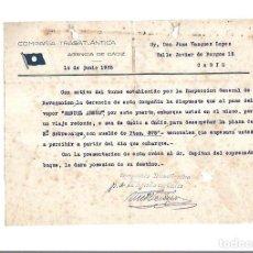 Líneas de navegación: COMPAÑIA TRASATLANTICA. CADIZ. 1935. NOMBRAMIENTO DE SEGUNDO SOBRECARGO DEL VAPOR MANUEL ARNUS. Lote 151714106