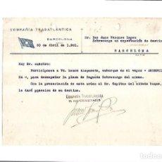 Linhas de navegação: COMPAÑIA TRASATLANTICA. BARCELONA. 1931. NOMBRAMIENTO DE SOBRECARGO AL VAPOR ARGENTINA. Lote 151714466