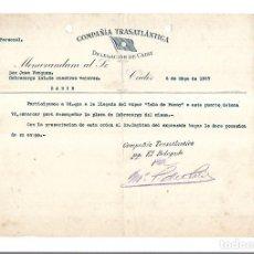 Líneas de navegación: COMPAÑIA TRASATLANTICA. CADIZ. 1927. NOMBRAMIENTO DE SOBRECARGO EN LA ISLA DE PANAY. Lote 151714922