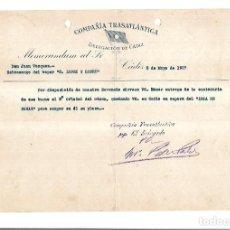 Linhas de navegação: COMPAÑIA TRASATLANTICA. CADIZ. 1927. NOMBRAMIENTO DE SOBRECARGO EN VAPOR C.LOPEZ Y LOPEZ. Lote 151715042