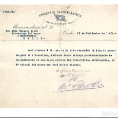 Líneas de navegación: COMPAÑIA TRASATLANTICA. CADIZ. 1926. PERMISO DE VACACIONES DEL SOBRECARGO DEL VAPOR MONTSERRAT. Lote 151715366