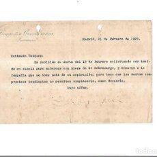 Líneas de navegación: COMPAÑIA TRASATLANTICA. PRESIDENCIA. MADRID 1920. DENEGACION DE EMBARQUE. Lote 151715630