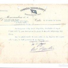 Líneas de navegación: COMPAÑIA TRASATLANTICA. CADIZ. 1924. NOMBRAMIENTO SEGUNDO SOBRECARGO DEL VAPOR LEON XIII. Lote 151715782