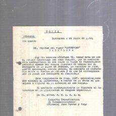 Líneas de navegación: COMPAÑIA TRASATLANTICA. BARCELONA. 1931. INCREMENTO DE SUELDO A SOBRECARGO. Lote 151716366