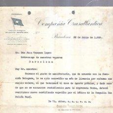 Líneas de navegación: COMPAÑIA TRASATLANTICA. BARCELONA. 1929. PERMISO DE UN MES POR ENFERMEDAD. Lote 151716430