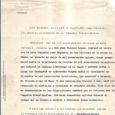 Líneas de navegación: COMPAÑIA TRASATLANTICA. BARCELONA. 1932. CERTIFICADO DE SERVICIOS CON SELLO EN SECO DE LA COMPAÑIA. Lote 151716530
