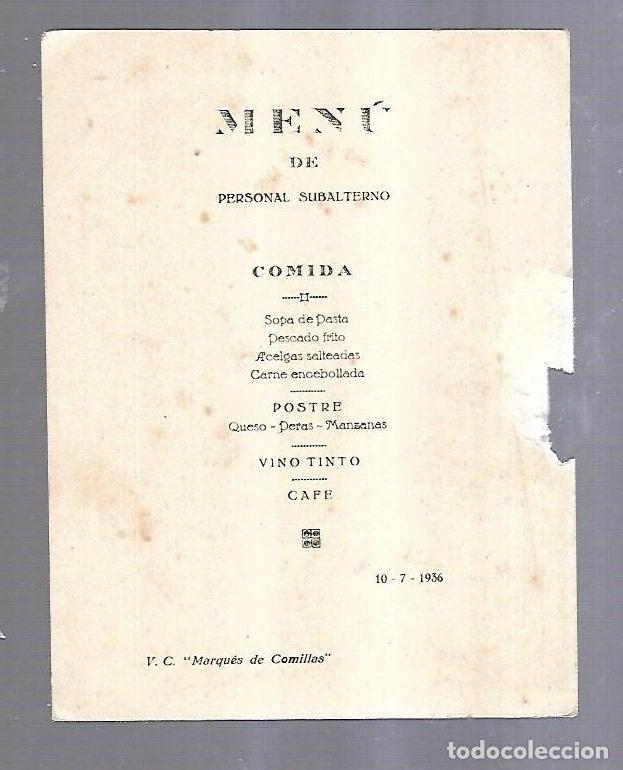 Líneas de navegación: MENU PERSONAL SUBALTERNO. VAPOR MARQUES DE COMILLAS. 1936. IMAGEN LEON. VER DORSO - Foto 2 - 151756178