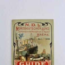 Líneas de navegación: PR-49 PROGRAMA CATALOGO DE VIAJES .N.D.L. NORDDEUTSCHER LLOYD GUIDE 1908. Lote 152448626