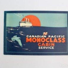 Líneas de navegación: PR-50 PROGRAMA DE VIAJE.CANADIAN PACIFIC.MONOCLASS CABIN SERVICE.AÑO 1925.. Lote 152450034