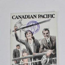Líneas de navegación: PR-704 PROGRAMA DE VIAJE.CANADIAN PACIFIC .TOURIST THIRD CABIN .TO CANADA AND U.S.A.. Lote 153226634