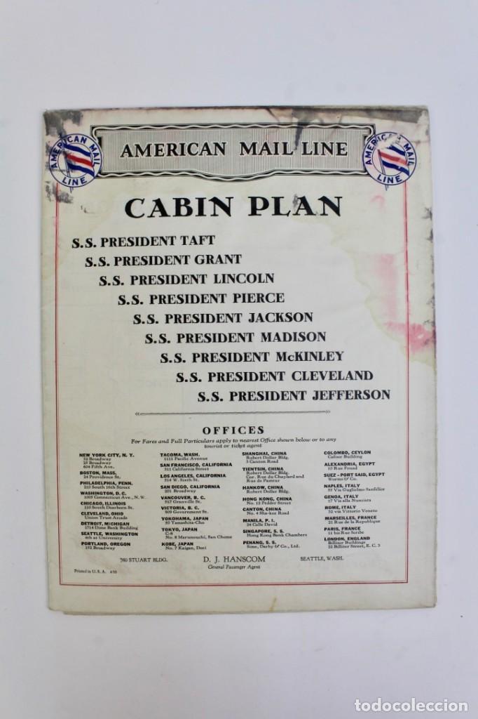 PR-767 PLAN DE CABINA .AMERICAN MAIL LINE. (Coleccionismo - Líneas de Navegación)