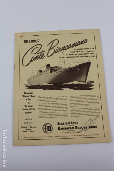 PR-796. FOLLETO PROMOCIONAL THE FAMOUS CONTE BIANCAMANO. 1950. (Coleccionismo - Líneas de Navegación)