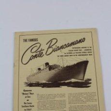 Líneas de navegación: PR-796. FOLLETO PROMOCIONAL THE FAMOUS CONTE BIANCAMANO. 1950.. Lote 153831530