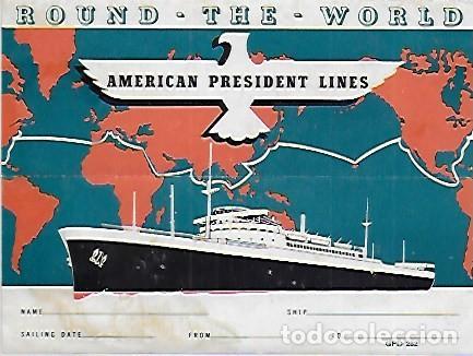 PR-824. ETIQUETA PASAJERO AMERICAN PRESIDENT LINES.ROUND-THE-WORLD. (Coleccionismo - Líneas de Navegación)