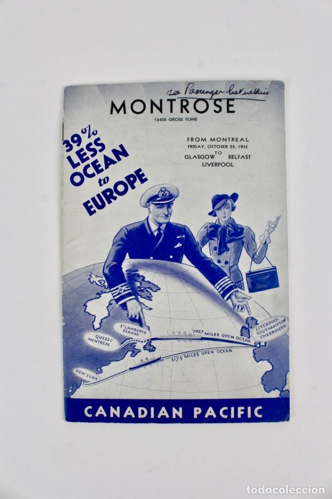 PR-844 LINEAS DE VIAJE.MONTROSE .CANADIAN PACIFIC .AÑO 1935. (Coleccionismo - Líneas de Navegación)