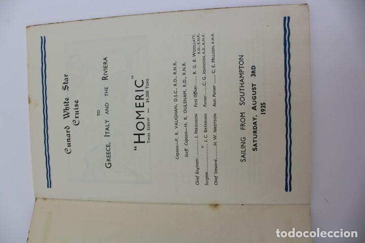 Líneas de navegación: PR- 870. PROGRAMA CUNARD WHITE STAR CRUISE TO GREECE, ITALY AND THE RIVIERA. HOMERIC. 1935. - Foto 2 - 154816770