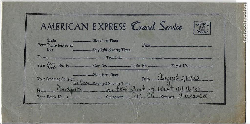 PR- 885. AMERICAN EXPRESS TRAVEL SERVICE. 1953. (Coleccionismo - Líneas de Navegación)