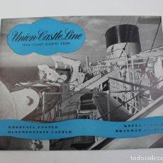 Líneas de navegación: PR- 917. FOLLETO UNION CASTLE LINE. ONE CLASS CABIN SHIPS. 1953.. Lote 155628554