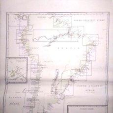 Líneas de navegación: CARTA DE NAVEGACION. SOUTH AMERICA. INDEX TO HYDROGRAPHIC OFFICE CHARTS. 1916.. Lote 155954142
