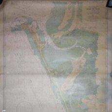 Líneas de navegación: CARTA DE NAVEGACION. OCEANO ATLANTICO NORTE. COSTA SW. DE ESPAÑA. BAHIA DE CADIZ. LEER.. Lote 155991078
