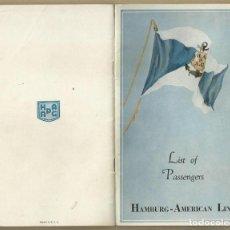 Líneas de navegación: S.S. ALBERT BALLIN. HAMBURG - AMERICAN LINE. LISTA DE PASAJEROS, LIST OF PASSENGERS. RUTAS. 1932. Lote 155994398