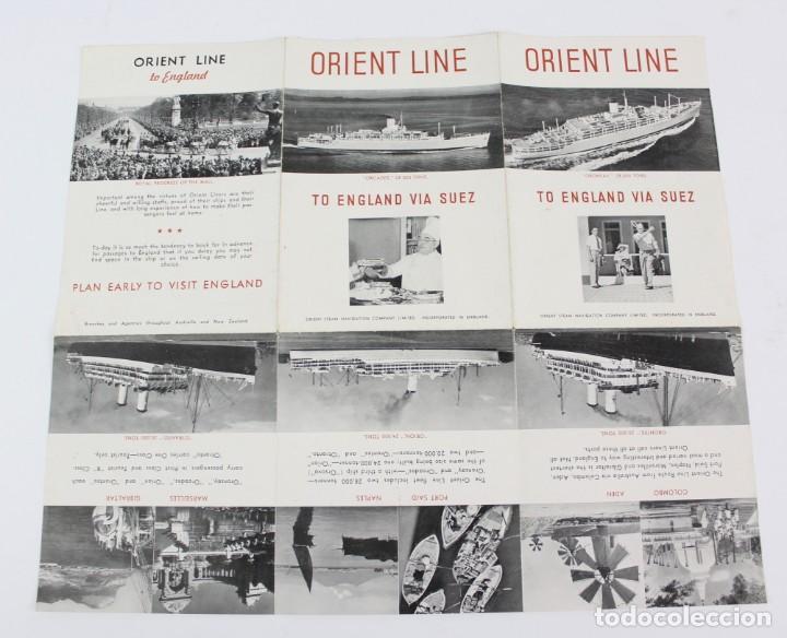 Líneas de navegación: PR- 955. FOLLETO ORIENT LINE. TO ENGLAND VIA SUEZ. - Foto 3 - 156081890