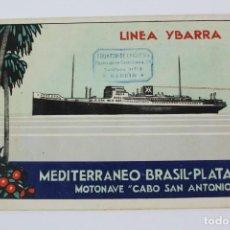 Líneas de navegación: PR- 956. LINEA YBARRA, MEDITERRANEO BRASIL-PLATA. MOTONAVE CABO SAN ANTONIO.. Lote 156086798