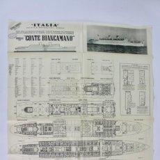 Líneas de navegación: PR-961 MAPA DE BARCO .CONTE BIANCAMANO.ITALIA SOCIETA DI NAVIGAZIONE GENOVA .AÑO 1952.. Lote 156103914