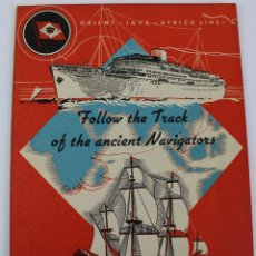 Líneas de navegación: PR-967. FOLLETO ORIENT JAVA, AFRICA LINE. FOLLOW THE TRACK OF THE ANCIENT NAVIGATORS. 1938.. Lote 156174286