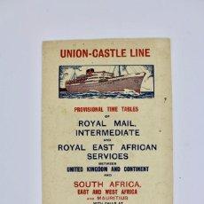 Líneas de navegación: PR-1025 PROGRAMA DE BARCO.UNION CASTLE LINE .MAIL STEAMSHIP COMPANY LIMITED.AÑO 1937. Lote 158192986