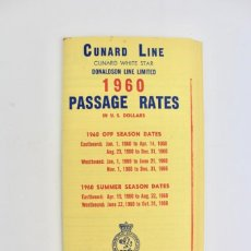 Líneas de navegación: L-1080 LISTA DE PRECIOS.CUNARD LINE .BARCO CUNARD WHITE STAR .NUMERO 1. AÑO 1960.. Lote 160071614