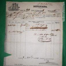 Líneas de navegación: CONOCIMIENTO DE EMBARQUE.1856. Lote 160639150