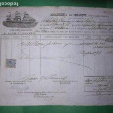 Líneas de navegación: CONOCIMIENTO DE EMBARQUE 1876. Lote 160639698