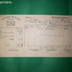 Líneas de navegación: CONOCIMIENTO DE EMBARQUE 1906. Lote 160640074