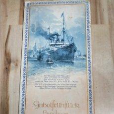 Líneas de navegación: 2 MENUS DE BARCO AÑO 1938 NAVIERA HAMBURG AMERIKA LINIE, MOTONAVE ORINOCO. Lote 161223441