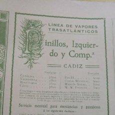 Líneas de navegación: LINEA DE VAPORES TRASATLANTICOS PINILLOS,IZQUIERDO Y Cª CADIZ ANTILLAS AMERICA DEL SUR HOJA AÑO 1910. Lote 161789970
