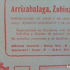 Líneas de navegación: FABRICA DE MOSAICOS HIDRAULICOS ARRIZABALAGA,ZUBINAS Y Cª BILBAO HOJA AÑO 1910. Lote 161795030