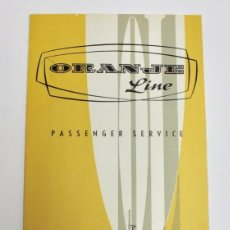 Líneas de navegación: PR-1127. FOLLETO DESPLEGABLE ORANGE LINE. PASSENGER SERVICE. CANADA EUROPE. 1959. . Lote 163354678
