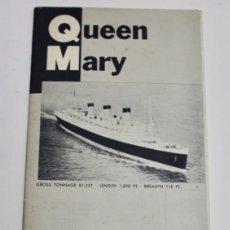 Líneas de navegación: PR-1129. FOLLETO QUEEN MARY. PLAN OF TOURIST CLASS ACCOMMODATIONS. CUNARD LINE. 1957.. Lote 163355354