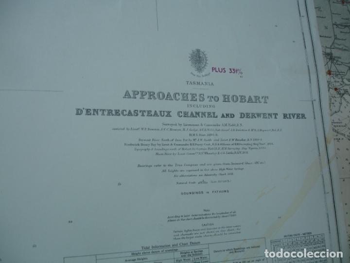 Líneas de navegación: carta náutica años 40-60 costa Tasmania. - Foto 2 - 163687642