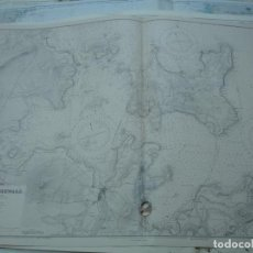 Líneas de navegación: CARTA NÁUTICA AÑOS 40-60 ISLAS ORCADAS ESCOCIA INGLATERRA. Lote 163690062