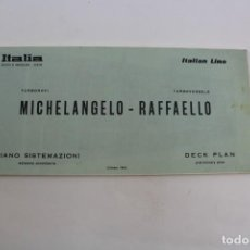 Líneas de navegación: PR-1145. PLANO BARCO MICHELANGELO-RAFFAELLO. ITALIAN LINE. 1964.. Lote 163943966