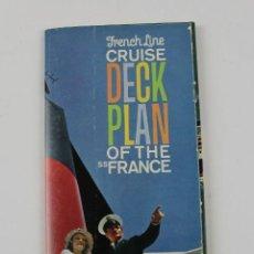 Líneas de navegación: PR-1223. FRENCH LINE CRUISE DECK PLAN OF THE SS FRANCE. . Lote 165348774