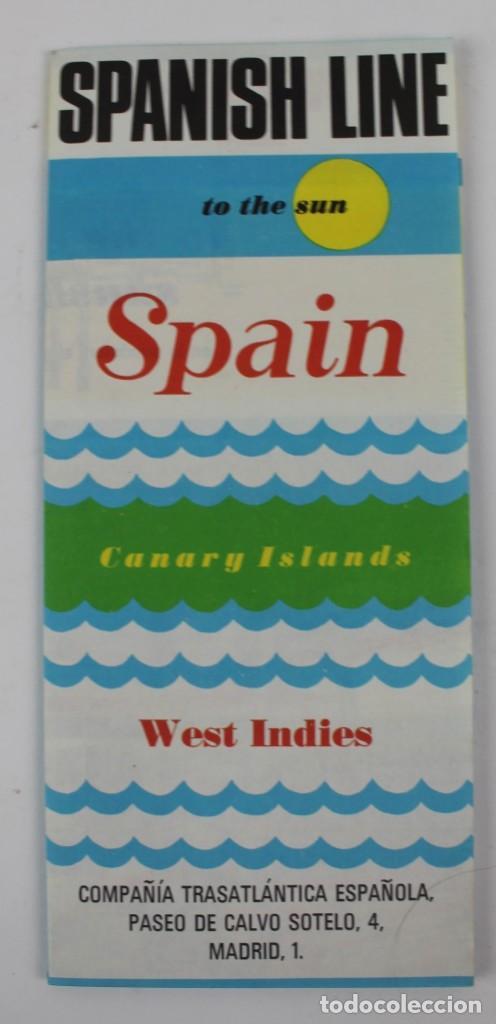 PR- 1225. FOLLETO SPANISH LINE. COMPAÑIA TRASATLANTICA ESPAÑOLA. AÑOS 70. (Coleccionismo - Líneas de Navegación)